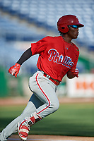 Philadelphia Phillies Luis Garcia (5) runs to first base during a Florida Instructional League game against the New York Yankees on October 12, 2018 at Spectrum Field in Clearwater, Florida.  (Mike Janes/Four Seam Images)
