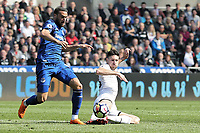 (L-R) Cenk Tosun of Everton challenged by Federico Fernandez of Swansea City during the Premier League match between Swansea City and Everton at The Liberty Stadium, Swansea, Wales, UK. Saturday 14 April 2018