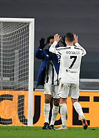 Football Soccer: Tim Cup Semi Finals second leg Juventus vs InternazionaleMilan, Allianz Staium Stadium in Turin, on February 9, 2021.<br /> Juventus' Cristiano Ronaldo (r) celebrates with Juventus' Juan Cuadrado (l) after the Italian Tim Cup Semi Final match between Juventus vs InterMilan at Allianz Stadium in Turin, on February 9, 2021.<br /> Juventus reaches the Tim Cup Final.<br /> UPDATE IMAGES PRESS/Isabella Bonotto