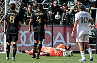 LOS ANGELES, CA - MARCH 01: GK Kenneth Vermeer #1 of LAFC makes a save in the box during a game between Inter Miami CF and Los Angeles FC at Banc of California Stadium on March 01, 2020 in Los Angeles, California.
