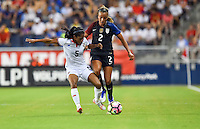 Kansas City, KS. - July 22, 2016: The U.S. Women's National team go up 2-0 over Costa Rica with a contributing goal by Mallory Pugh in first half play during a friendly match in preparation for the Olympics at Children's Mercy Park.