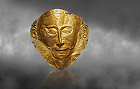 Mycenaean gold death mask, Mask of Agamemnon, Grave Cicle A, Mycenae, Greece.National Archaeological Museum of Athens.   Grey Art Background<br /> <br /> The mask from Grave V depicts an imposing face of a bearded man descovered by  Heinrich Schliemann who believed it was the body of Agamemnon, this is unproven to date.  The Mycenaean death mask belonged to a warrior and made of gold leaf it cocered the dead mans face held on by cord threaded tgrough the two sides of the mask.  The mask of Agamemnon was created from a single thick gold sheet, heated and hammered against a wooden background with the details chased on later with a sharp tool. The artifact dates from the 16th century BC.