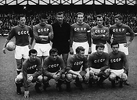 23rd July 1966: The Soviet Union football team before the start of their World Cup quarter - final match with Hungary Sunderland. The Soviet Union went on to qualify for the semi-finals with a 2-1 win. Goalkeeper Lev Yashin can be seen in black on the back row.