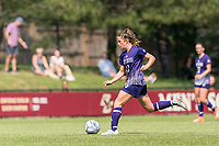 NEWTON, MA - SEPTEMBER 12: Shelley Blumsack #11 of Holy Cross dribbles at midfield during a game between Holy Cross and Boston College at Newton Campus Soccer Field on September 12, 2021 in Newton, Massachusetts.