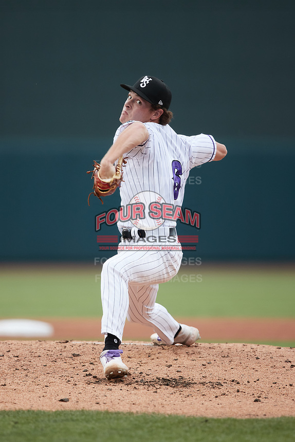Winston-Salem Dash relief pitcher Cooper Bradford (6) in action against the Hickory Crawdads at Truist Stadium on July 7, 2021 in Winston-Salem, North Carolina. (Brian Westerholt/Four Seam Images)