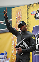 Sept. 16, 2011; Concord, NC, USA: NHRA pro stock motorcycle rider Michael Phillips during qualifying for the O'Reilly Auto Parts Nationals at zMax Dragway. Mandatory Credit: Mark J. Rebilas-US PRESSWIRE