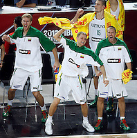 Lithuania players celebrates during the quarter-final World championship basketball match against Argentina in Istanbul, Lithuania-Argentina, Turkey on Thursday, Sep. 09, 2010. (Novak Djurovic/Starsportphoto.com).