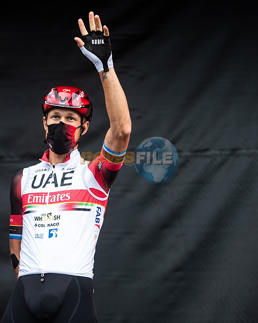 Matteo Trentin (ITA) UAE Team Emirates at sign on before Stage 18 of La Vuelta d'Espana 2021, running 162.6km from Salas to Alto del Gamoniteiru, Spain. 2nd September 2021.   <br /> Picture: Unipublic/Charly Lopez | Cyclefile<br /> <br /> All photos usage must carry mandatory copyright credit (© Cyclefile | Charly Lopez/Unipublic)