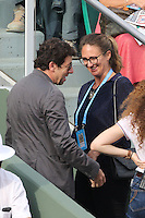 Patrick Bruel and Mary Pierce seen watching tennis during Roland Garros tennis open 2016 on may 28 2016.