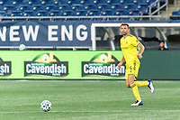 FOXBOROUGH, MA - OCTOBER 3: Dave Romney #4 of Nashville SC looks to pass during a game between Nashville SC and New England Revolution at Gillette Stadium on October 3, 2020 in Foxborough, Massachusetts.