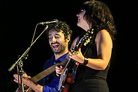 Louis-Jean Cormier and Lisa Leblanc perform during a concert at the Festival d'ete de Quebec in Quebec City Monday July 7, 2014.