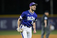 High Point Panthers relief pitcher Matt Hodges (25) shows some emotion after getting the final out of the inning against the NJIT Highlanders during game two of a double-header at Williard Stadium on February 18, 2017 in High Point, North Carolina.  The Highlanders defeated the Panthers 4-2.  (Brian Westerholt/Four Seam Images)