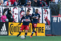FOXBOROUGH, MA - MARCH 7: Diego Fagundez #14 of New England Revolution passes the ball during a game between Chicago Fire and New England Revolution at Gillette Stadium on March 7, 2020 in Foxborough, Massachusetts.
