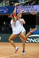 Arena Loire,  Trélazé,  France, 16 April, 2016, Semifinal FedCup, France-Netherlands, Doubles: Garcia -Mladenovic (FRA)  (R) <br /> Photo: Henk Koster/Tennisimages