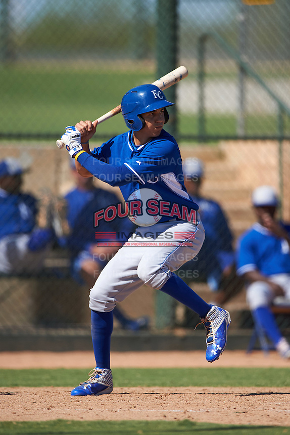 Kansas City Royals Manny Olloque (21) during an instructional league game against the San Francisco Giants on October 23, 2015 at the Papago Baseball Facility in Phoenix, Arizona.  (Mike Janes/Four Seam Images)