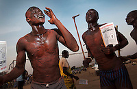 Members of the Mundari tribe celebrating the beginning of Southern Sudan's referendum. On 9th January 2011 Southern Sudan's people voted in a referendum on whether to become independent from the North..
