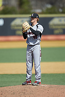 Louisville Cardinals relief pitcher Rabon Martin (40) looks to his catcher for the sign against the Wake Forest Demon Deacons at David F. Couch Ballpark on March 18, 2018 in  Winston-Salem, North Carolina.  The Demon Deacons defeated the Cardinals 6-3.  (Brian Westerholt/Four Seam Images)