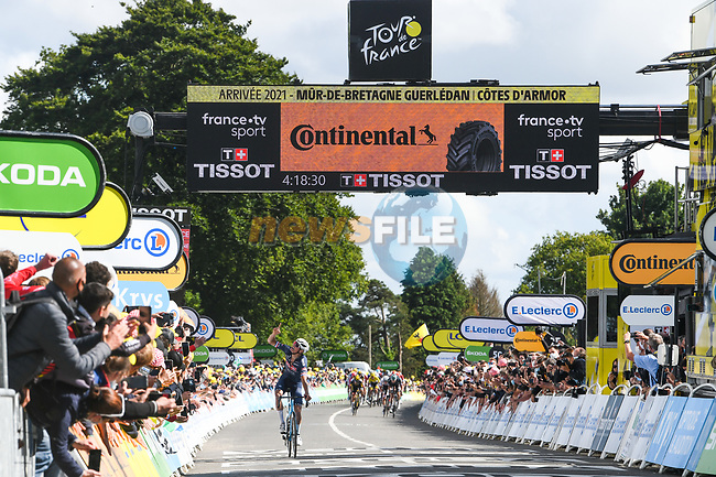 Mathieu Van Der Poel (NED) Alpecin-Fenix wins solo Stage 2 of the 2021 Tour de France, running 183.5km from Perros-Guirec to Mur-de-Bretagne Guerledan, France. 27th June 2021.  <br /> Picture: A.S.O./Charly Lopez | Cyclefile<br /> <br /> All photos usage must carry mandatory copyright credit (© Cyclefile | A.S.O./Charly Lopez)