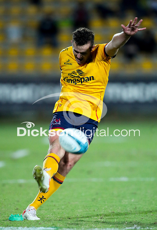 2 October 2021; Billy Burns of Ulster kicks a conversion during the United Rugby Championship match between Zebre and Ulster at Stadio Sergio Lanfranchi in Parma, Italy. Photo by Roberto Bregani/Dicksondigital