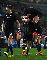 The All Blacks celebrate a Will Jordan try during the Bledisloe Cup rugby match between the New Zealand All Blacks and Australia Wallabies at Eden Park in Auckland, New Zealand on Saturday, 14 August 2021. Photo: Simon Watts / lintottphoto.co.nz / bwmedia.co.nz