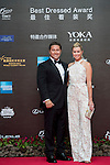 Paula Creamer and her husband Derek on the Red Carpet event at the World Celebrity Pro-Am 2016 Mission Hills China Golf Tournament on 20 October 2016, in Haikou, China. Photo by Weixiang Lim / Power Sport Images