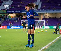 ORLANDO, FL - FEBRUARY 24: Alex Morgan #13 of the USWNT enters the field before a game between Argentina and USWNT at Exploria Stadium on February 24, 2021 in Orlando, Florida.