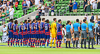 AUSTIN, TX - JULY 29: The USMNT stands for the National Anthem before a game between Qatar and USMNT at Q2 Stadium on July 29, 2021 in Austin, Texas.