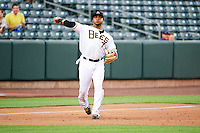 Luis Jimenez (7) of the Salt Lake Bees on defense against the Tacoma Rainiers in Pacific Coast League action at Smith's Ballpark on July 9, 2014 in Salt Lake City, Utah.  (Stephen Smith/Four Seam Images)
