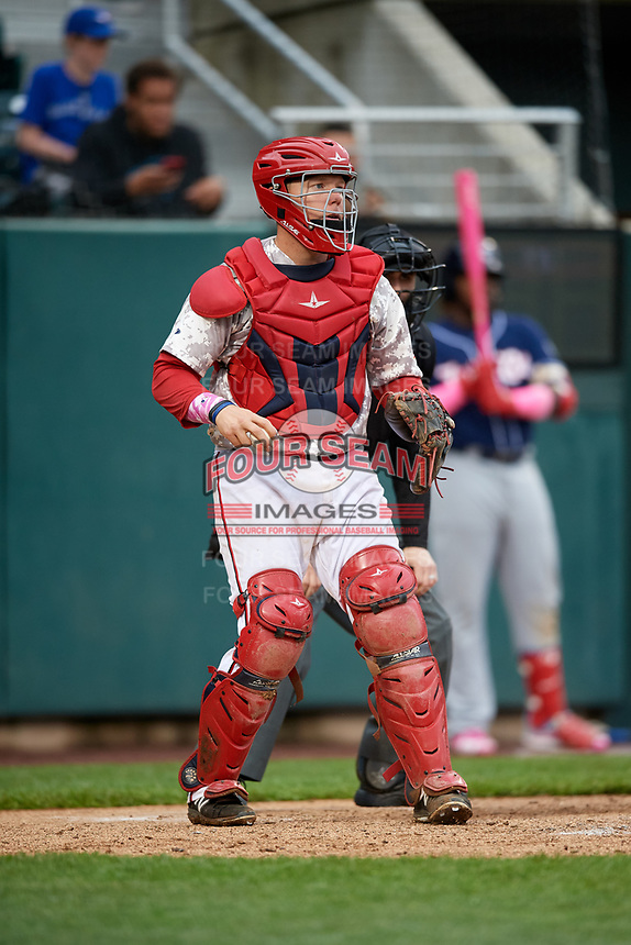 Harrisburg Senators catcher Jake Lowery (3) during the second game of a doubleheader against the New Hampshire Fisher Cats on May 13, 2018 at FNB Field in Harrisburg, Pennsylvania.  Harrisburg defeated New Hampshire 2-1.  (Mike Janes/Four Seam Images)