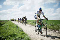eventual winner Mathew Hayman (AUS/Orica-GreenEDGE) on sector 24: Saint-Python (1.5km) in his 15th (!) Roubaix<br /> <br /> 114th Paris-Roubaix 2016