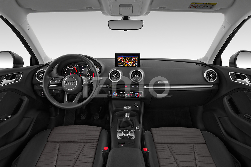 Stock photo of straight dashboard view of a 2019 Audi A3 Sportsportback Sport 5 Door Hatchback