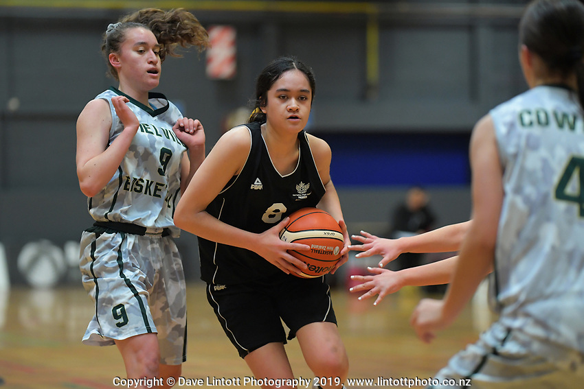 Action from the 2019 Schick AA Girls' Secondary Schools Basketball Premiership National Championship match between Melville High School and Hutt Valley High School at the Central Energy Trust Arena in Palmerston North, New Zealand on Monday, 30 September 2019. Photo: Dave Lintott / lintottphoto.co.nz