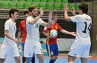 MEDELLIN - COLOMBIA- 21-09-2016: Chingiz Yessenamanov (#10) jugador de Kazajistán celebra después de anotar un gol a España durante partido de octavos de final de la Copa Mundial de Futsal de la FIFA Colombia 2016 jugado en el Coliseo Ivan de Bedout en Medellín, Colombia. /  Chingiz Yessenamanov (#10) player of Kazakhstan celebrates after scoring a goal to Spain during match of the knockout stages of the FIFA Futsal World Cup Colombia 2016 played at Ivan de Bedout coliseum in Medellin, Colombia. Photo: VizzorImage / Leon Monsalve /