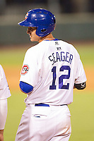 Corey Seager (12) of the Chattanooga Lookouts on first base during the game against the Montgomery Biscuits at AT&T Field on July 24, 2014 in Chattanooga, Tennessee.  The Biscuits defeated the Lookouts 6-4. (Brian Westerholt/Four Seam Images)