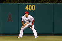 Mike Trout #27 of the Los Angeles Angels in centerfield during a game against the Kansas City Royals at Angel Stadium on May 14, 2013 in Anaheim, California. (Larry Goren/Four Seam Images)