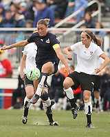 Abby Wambach (blue) of the Washington Freedom controls the ball in front of Jen Buczkowski of Sky Blue F.C. during a WPS pre season match at Maryland Soccerplex, in Boyd's, Maryland on March 14 2009. Sky Blue won the match 1-0