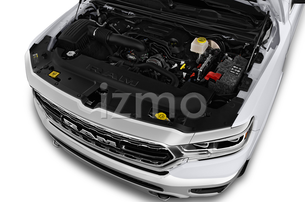 Car stock 2019 Ram Ram 1500 Pickup Limited Crew Cab 4 Door Pick Up engine high angle detail view