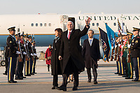 Vice President Mike Pence and Mrs. Karen Pence disembark Air Force Two at Osan Air Base, Thursday, February 8, 2018, and are greeted by First Vice Foreign Minister Lim Sung-Nam and his wife, in Seoul, South Korea. (Official White House Photo by D. Myles Cullen)