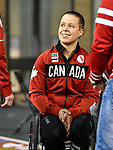 MONTREAL, QC - APRIL 29:  Cindy Ouellet speaks with guests during the 2017 Montreal Paralympian Search at Complexe sportif Claude-Robillard. Photo: Minas Panagiotakis/Canadian Paralympic Committee