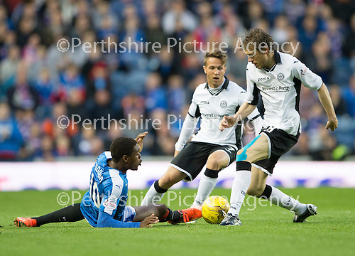 Rangers v St Johnstone...22.09.15  Scottish League Cup Round 3, Ibrox Stadium<br /> Nathan Oduwa tackles Murray Davidson<br /> Picture by Graeme Hart.<br /> Copyright Perthshire Picture Agency<br /> Tel: 01738 623350  Mobile: 07990 594431