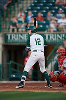 Fort Wayne TinCaps Blake Hunt (12) during a Midwest League game against the Peoria Chiefs on July 17, 2019 at Parkview Field in Fort Wayne, Indiana.  Fort Wayne defeated Peoria 6-2.  (Mike Janes/Four Seam Images)