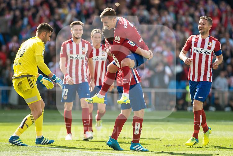 Atletico de Madrid's Koke Resurrecccion, Antoine Griezmann, Saul Niguez and Fernando Torres celebrating a goal BBVA La Liga match. April 02,2016. (ALTERPHOTOS/Borja B.Hojas)