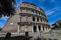 Rome 17/5/2020 <br /> A view of the Coliseum deserted during the second phase of lockdown measures decided by italian government due the coronavirus, covid-19, pandemic . <br /> Restaurants, bars and most of the commercial activities will be reopened on 18 May . <br /> Photo Andrea Staccioli / Insidefoto