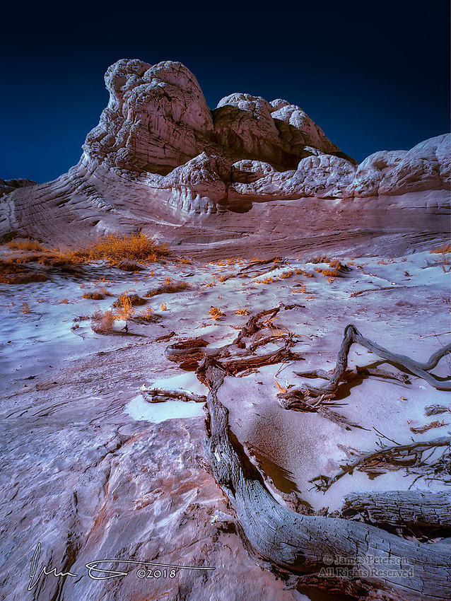 Ancient Bastion at White Pocket (Infrared) ©2018 James D Peterson.  White Pocket is a rugged area of twisted, curved, folded, and jumbled sandstone formations in northern Arizona's Vermilion Cliffs National Monument.  Dry, gusty winds scatter most of the sandy soil generated by erosion of these rocks, creating a harsh environment for the sparse vegetation that manages to gain a foothold.