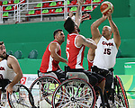 David Eng, Rio 2016 - Wheelchair Basketball // Basketball en fauteuil roulant.<br /> The Canadian men's wheelchair basketball team face Turkey in their final round of preliminary play // L'équipe canadienne masculine de basketball en fauteuil roulant affronte la Turquie lors de sa dernière ronde de match préliminaire. 12/09/2016.