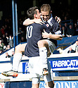 John Baird (9) celebrates with Brian Graham (10) after he scores Raith's second.