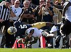 Sep 8, 2012; Quarterback Everett Golson (5) dives for a touchdown against Purdue...Photo by Matt Cashore