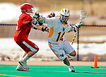 19 March 2011: University of Vermont Catamount Midfielder Thomas Galvin, a Sophomore from Cockeysville, MD, battles Dillon Ayers, a Sophomore from Lynbrook, NY, during game action against the St. John's University Red Storm at Moulton Winder Field in Burlington, Vermont. The Catamounts defeated the visiting Red Storm 14-9. Mandatory Credit: Ed Wolfstein Photo