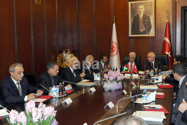Palestinian President Mahmoud Abbas, meets with Turkish Parliament, Cemil Cicek, in Turkey on Feb. 29, 2012. Photo by Thaer Ganaim