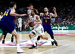 Barcelona's Ante Tomic, Real Madrid's Sergio Llull and Barcelona's Pau Ribas during Liga Endesa match between Real Madrid and FC Barcelona Lassa at Wizink Center in Madrid, Spain. March 24, 2019.  (ALTERPHOTOS/Alconada)